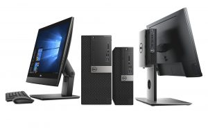 Dell OptiPlex Desktop family, featuring 7450 All-In-One, 5050 Mini Tower, 7050 Small Form Factor, 3050 Micro, OPMFS18 monitor stand, P2417H monitor and KM636 Keyboard and Mouse.